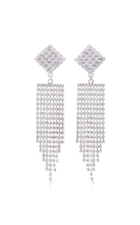 Alessandra Rich Diamond Crystal Earrings With Fringe