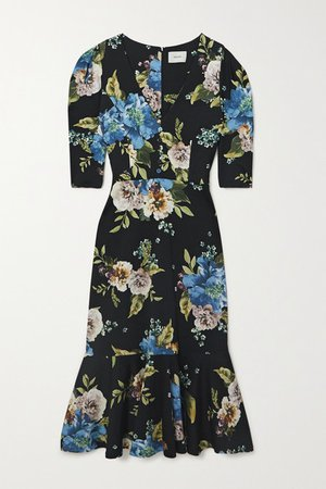 Ottavia Ruffled Floral-print Ponte Midi Dress - Black