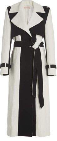Maggie Marilyn Call Me Cruella De Vil Two-Tone Linen Trench Coat