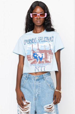 PINK FLOYD WASHED CROPPED TEE