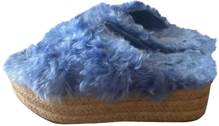 Blue Faux fur Sandals