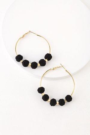 Boho Gold and Black Earrings - Hoop Earrings - Pompom Earrings