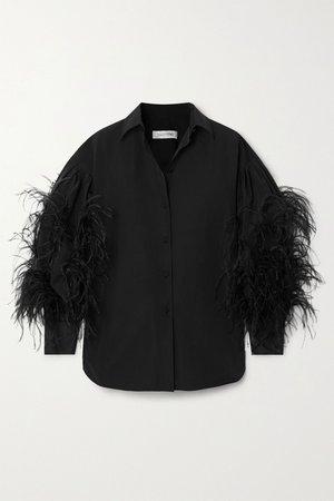 Black Feather-trimmed cotton-blend poplin blouse | Valentino | NET-A-PORTER