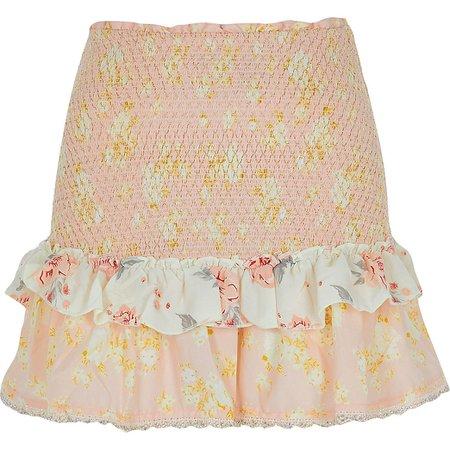 Light pink floral shirred beach skirt   River Island