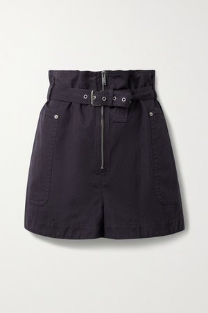 Parana Cotton And Linen-blend Belted Shorts - Navy