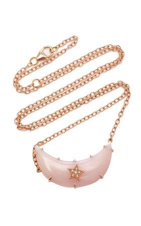 Andrea Fohrman Crescent Moon Pink Opal Necklace