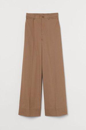 Wide-leg Twill Pants - Yellow