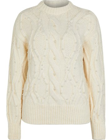 River Island Cream pearl embellished cable knit jumper