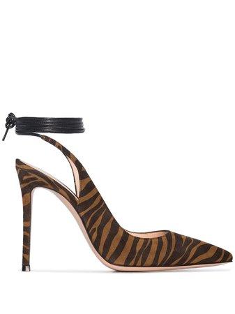 Gianvito Rossi 105mm Zebra Ankle Tie Pumps - Farfetch