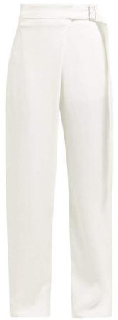 Stanley Belted Wrap Front Wide Leg Trousers - Womens - Ivory