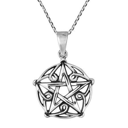 AeraVida - Gothic Pentagram of Brisingamen Sterling Silver Necklace - Walmart.com - Walmart.com