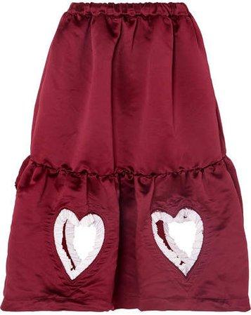 Ruffled Cutout Tiered Satin Midi Skirt - Burgundy