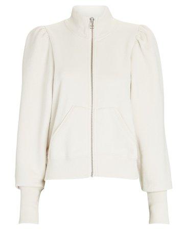 Veronica Beard Siedel Zip-Up Puff Sleeve Sweatshirt | INTERMIX®