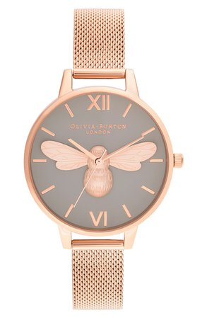 Olivia Burton Lucky Bee Mesh Strap Watch, 34mm | Nordstrom