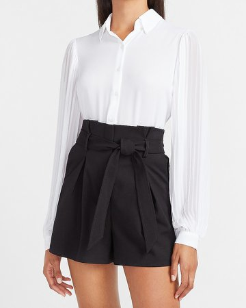 Super High Waisted Pleated Paperbag Shorts