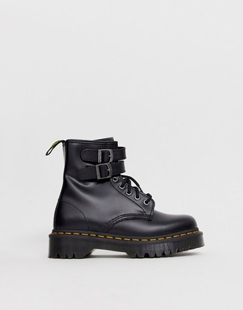 Dr Martens chunky buckle boots in black leather   ASOS