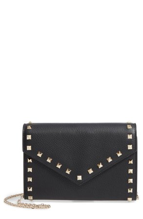 Valentino Garavani Rocktstud V-Flap Calfskin Leather Wallet on a Chain | Nordstrom