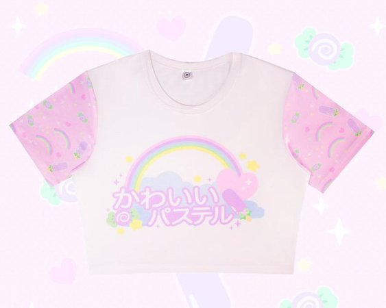 KAWAII PASTEL Crop Top fairy kei pastel colorful sweet | Etsy