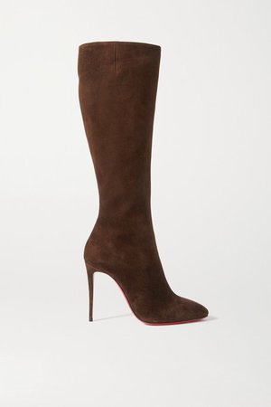 Eloise 100 Suede Knee Boots - Brown