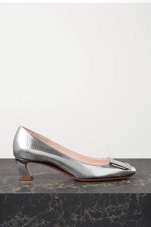 Belle Vivier Trompette Metallic Textured-leather Pumps - Silver