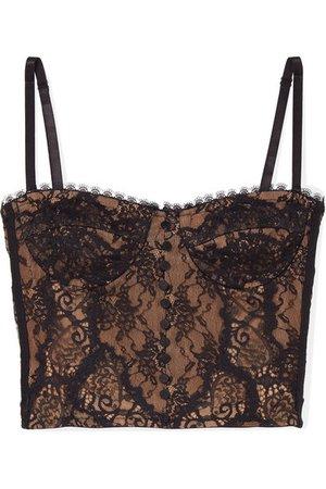 Jonathan Simkhai | Cropped satin-trimmed lace bustier top | NET-A-PORTER.COM