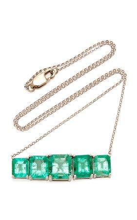18K White Gold And Emerald Necklace by Maria Jose Jewelry | Moda Operandi