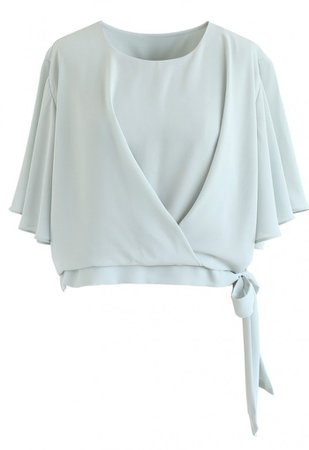 Bowknot Side Chiffon Cape Top in Mint - NEW ARRIVALS - Retro, Indie and Unique Fashion