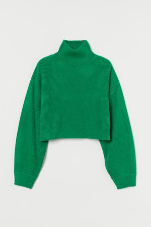 Cropped polo-neck jumper - Green - Ladies   H&M GB