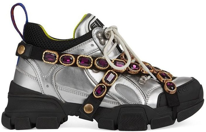 Flashtrek crystal-embellished metallic sneakers