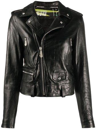 Philipp Plein Signature Leather Biker Jacket - Farfetch