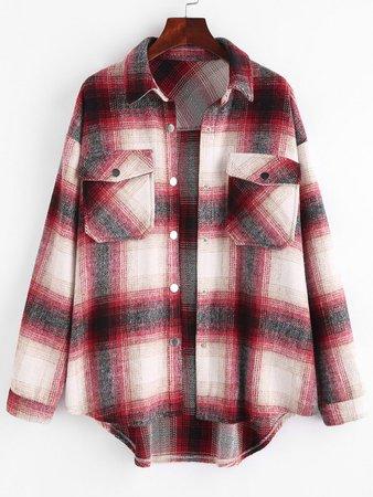 [31% OFF] 2020 ZAFUL Plaid Flap Pocket Curved Hem Shirt Jacket In RED | ZAFUL