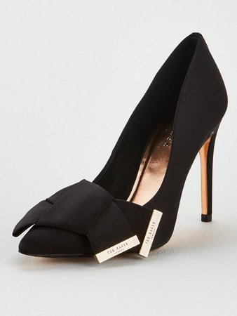 Ted Baker Iinesi Satin Bow Detail Court Shoes - Black | very.co.uk