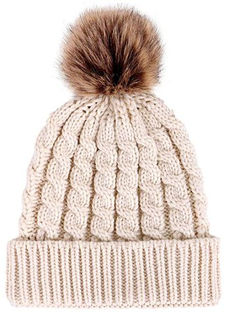 Women's Winter Soft Knitted Beanie Hat with Faux Fur Pom Pom, Cream at Amazon Women's Clothing store:
