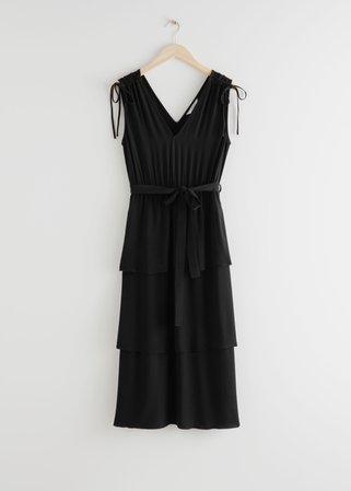 Belted V-Neck Midi Dress - Black - Midi dresses - & Other Stories