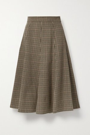 Houndstooth Wool Midi Skirt - Brown