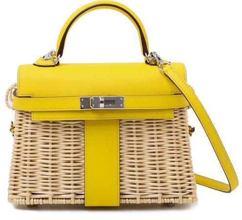 Hermes Jaune De Naples Kelly Mini Picnic Osier Bag