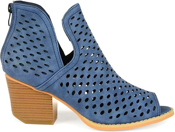 Amazon.com | Brinley Co. Womens Abrail Faux Leather Side-Slit Open-Toe Perforated Booties | Ankle & Bootie