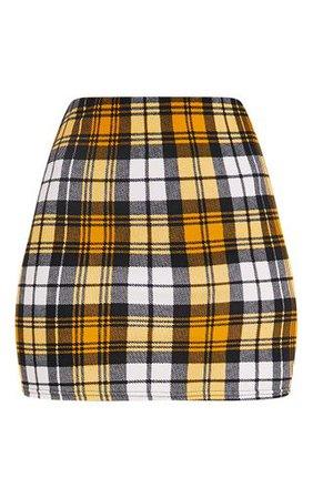Yellow Check Print Mini Skirt | Skirts | PrettyLittleThing