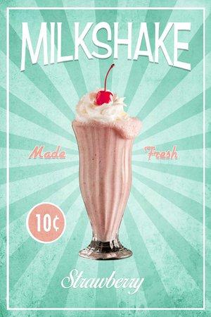 Retro milkshake print, Strawberry milkshake photo, vintage, Malt shop photo, Kitchen decor, Food Photography, Printable download, wall art