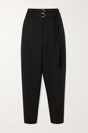 Belted Wool-blend Tapered Pants - Black