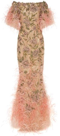Sequin And Feather-Embellished Tulle Gown