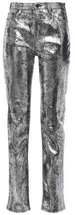 Metallic High-rise Slim-leg Jeans