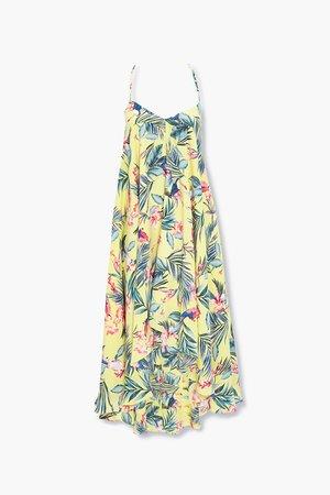 Tropical Print Halter Dress   Forever 21