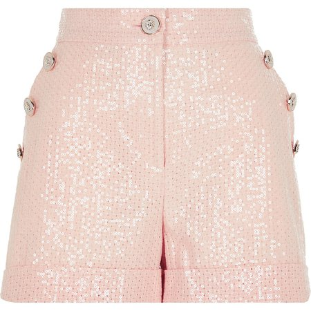 light Pink sequined buttons front shorts | River Island