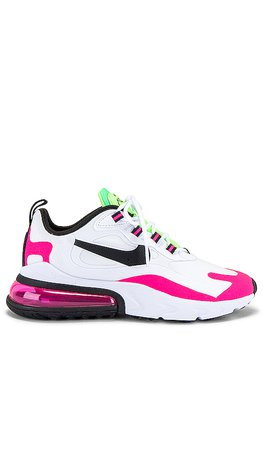 Nike Air Max 270 React Sneaker in Hyper Pink, Blast Ghost & Green Illusion | REVOLVE