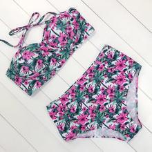Floral Print High Waist Swimsuit Bikini Push Up Swimwear Women Vintage – Rockin Docks Deluxephotos