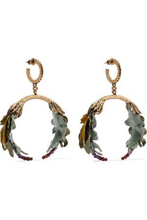 VALENTINO Valentino Garavani Bloomy enameled gold-tone earrings