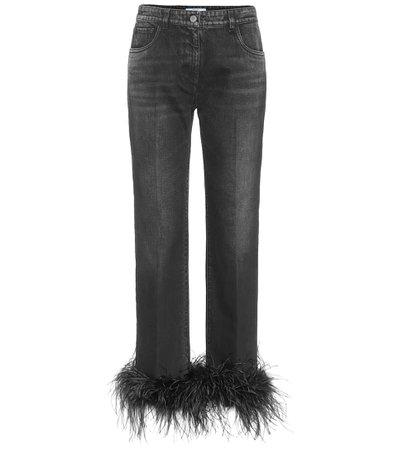 Prada - High-rise feather-trimmed jeans   Mytheresa