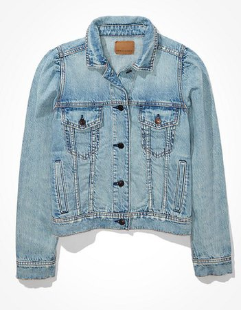 AE Cropped Puff-Sleeve Denim Jacket blue