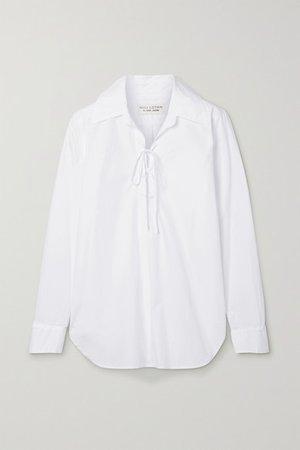 Lace-up Cotton-poplin Shirt - White